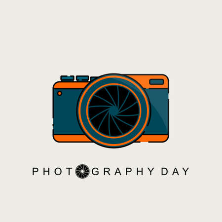 Green orange Mirrorless camera vector illustration. Good template for World Photography Day design.