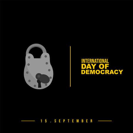 Design of International day of democracy with Padlock vector illustration