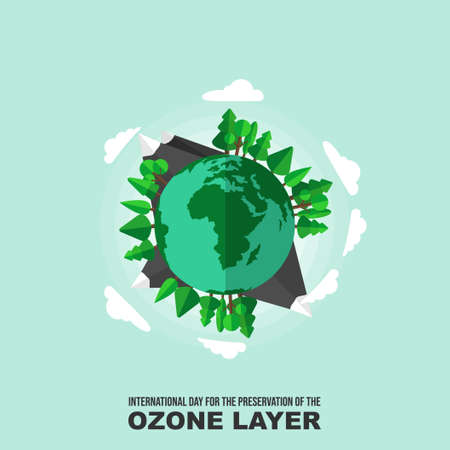Vector Illustration of Planet earth with environmental design. Good template for Ozone Day. Vettoriali
