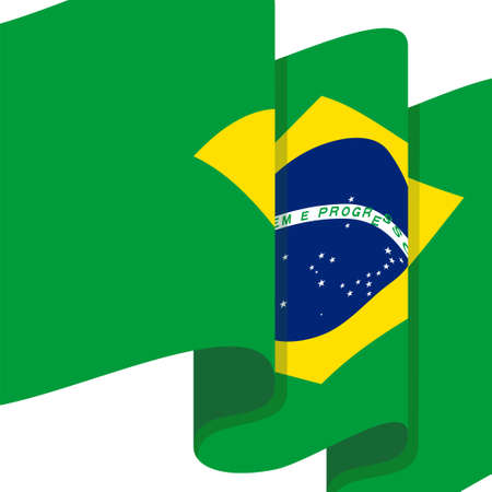 Raising of Brazil flag vector illustration. Good template for Brazil independence day design.