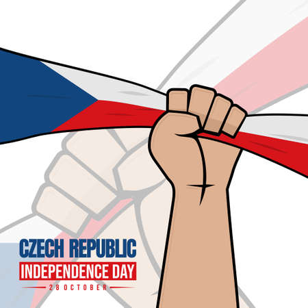 Czech Republic Independence Day design with Hand Gripping flag vector illustration.