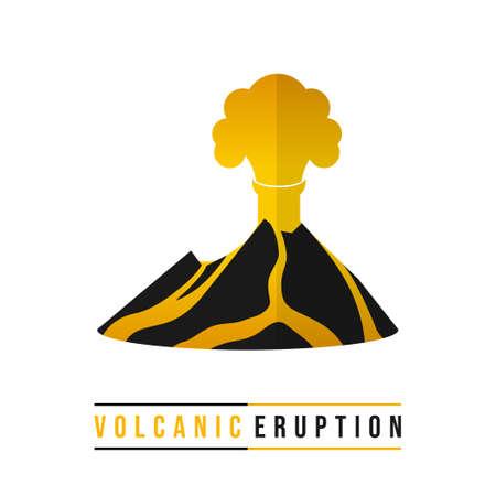 Volcanic Eruption from mountain vector illustration. Good template for Disaster design Illustration