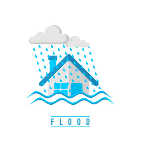 Flood design with submerged house vector illustration. Good template for Disaster design