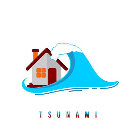 Tsunami design with waves attack the house vector illustration. Good template for Disaster design Illustration