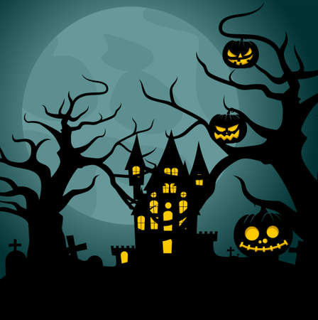 Happy Halloween Background design with Night landscape of castle and grave vector illustration. Good template for halloween wallpaper design.