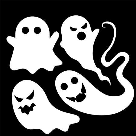 Set object of Flying Spooky Ghost vector illustration. Good template for Halloween or Horror design. Иллюстрация
