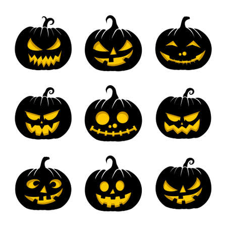 Set Object of Black Pumpkin design. Good template for Halloween or Horror design.