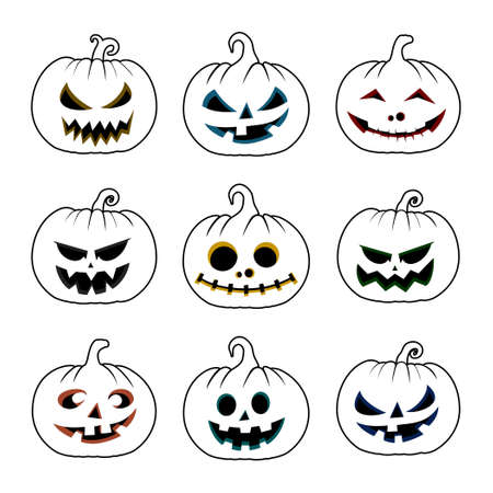 Set Object of Pumpkin Outline design. Good template for Halloween or Horror design.