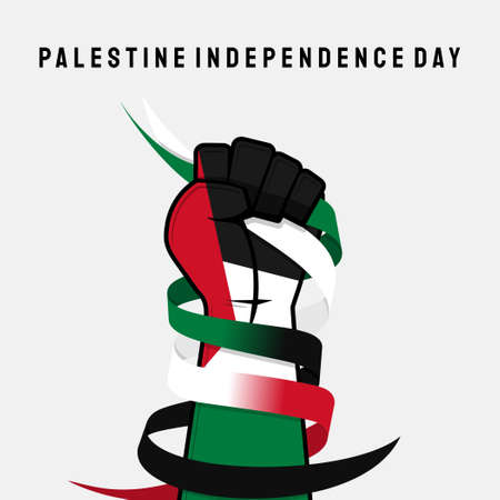 Palestine Independence Day with Gripping hand the ribbon design.