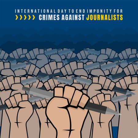 International Day to End Impunity for Crimes against Journalists design with gripping hands the pen vector illustration