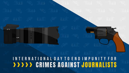 International Day to End Impunity for Crimes against Journalists design with camera and gun vector illustration