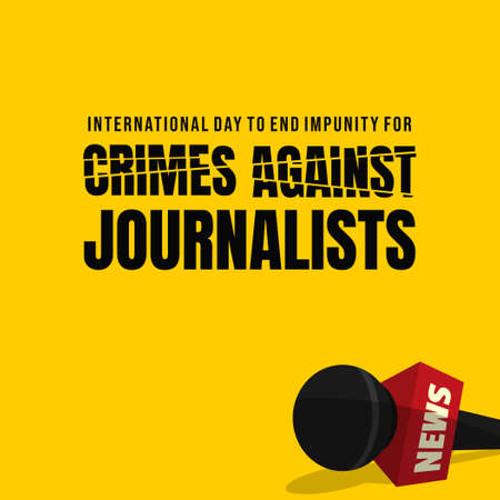 International Day to End Impunity for Crimes against Journalists design with the microphone fell off vector illustration.