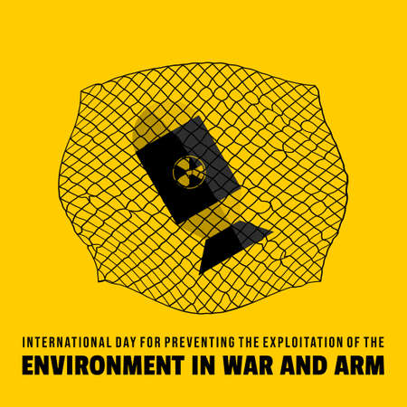 International Day for Preventing the Exploitation of the Environment in War and Armed Conflict design with nuclear caught the net vector illustration.