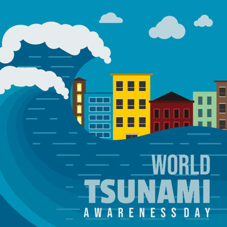 World Tsunami Awareness Day vector illustration with tsunami-stricken building landscape design. Good template for Tsunami or Disaster design.