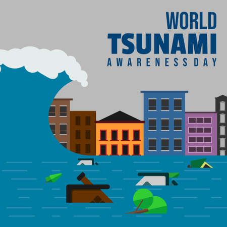 World Tsunami Awareness Day vector illustration with tsunami-stricken building landscape and flood design. Good template for Tsunami or Disaster design.