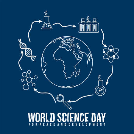 World Science Day for Peace and Development design with line art of Laboratory tools vector illustration. Good template for Science design. Vettoriali