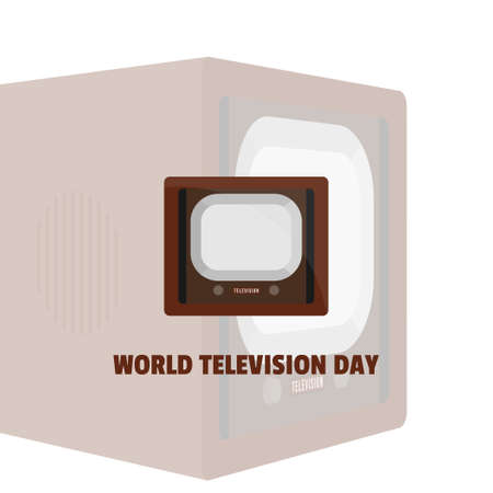 World Television Day with vintage television vector illustration. Good template for television or broadcast design.