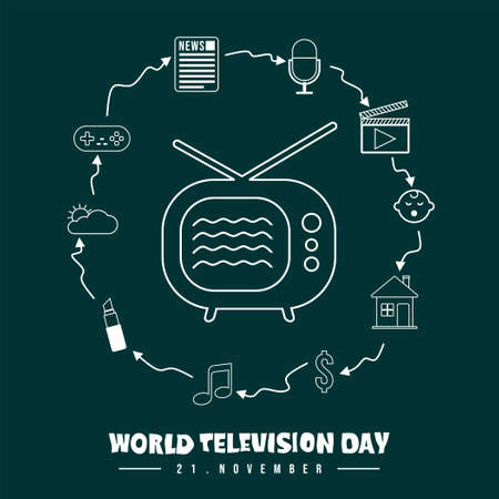 World Television Day vector illustration with set object of television schedule icon vector illustration. Good template for television or broadcast design. Ilustração