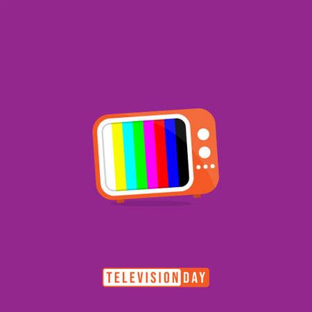Television Day with Cartoon of vintage television vector illustration. Good template for television or broadcast design. Ilustração