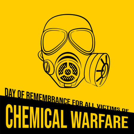 Day of remembrance for all victims of Chemical warfare design with line art of gas mask vector illustration. 矢量图像