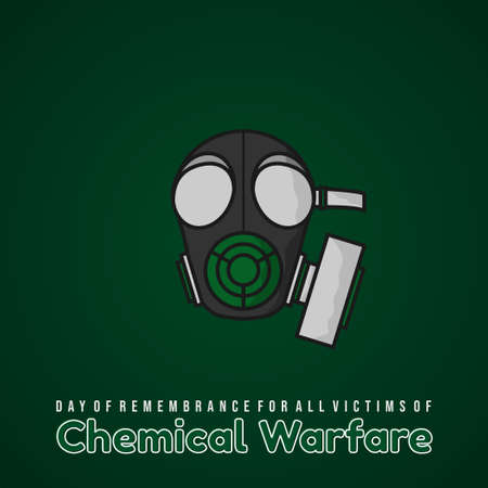 Day of remembrance for all victims of Chemical warfare design with gas mask and green background vector illustration.