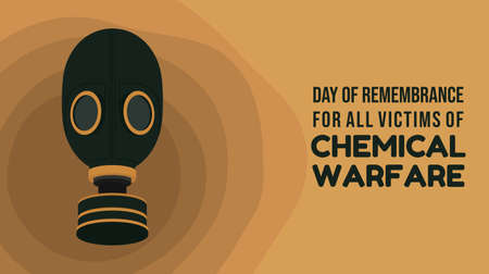 Day of remembrance for all victims of Chemical warfare design with classic of gas mask vector illustration.