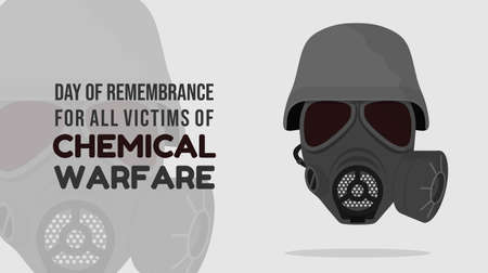 Day of remembrance for all victims of Chemical warfare design with gas mask using a helmet vector illustration.