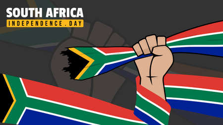 South Africa Independence Day design with Gripping the South Africa Flag vector illustration. Good template for South Africa design.