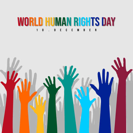 World Human rights day with colorful Hands up vector illustration. Good template for Human rights design. Vettoriali