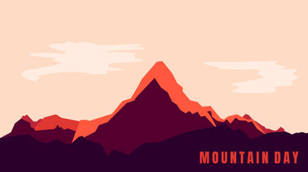 Mountain landscape background design for mountain day. Good template for mountain or adventure background design. Illustration