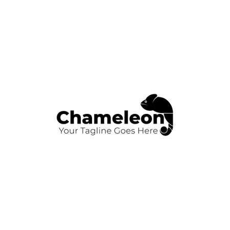 Chameleon Typography logo with standing chameleon on text. Good template for animal design.