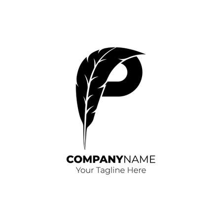 Letter P vector illustration with Feather. Good template for lettering design.