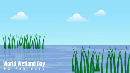 swamp by the sea vector illustration. good template for wetland day design.