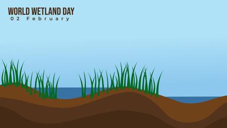 Wetland vector illustration. good template for wetland day design. Illustration
