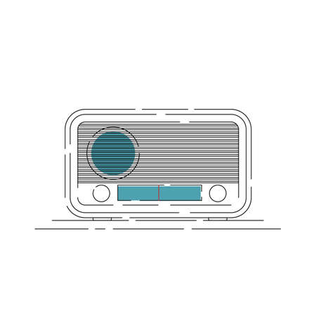 Vintage radio vector illustration with simple outline design. Good template for entertainment or radio design Stock Illustratie