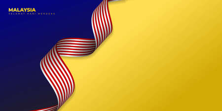 Blue Yellow Background with waving Malaysian flag design. Malaysian Text mean is Happy Independence Day. Good template for Malaysia National Day design.