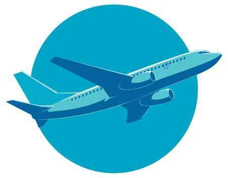 flight: passenger plane in flight, bottom view. Illustration