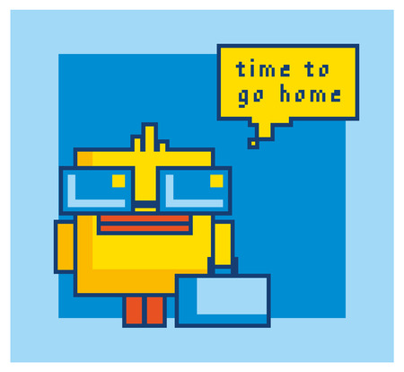 duckie: Pixel art yellow bath duck isolated on blue background