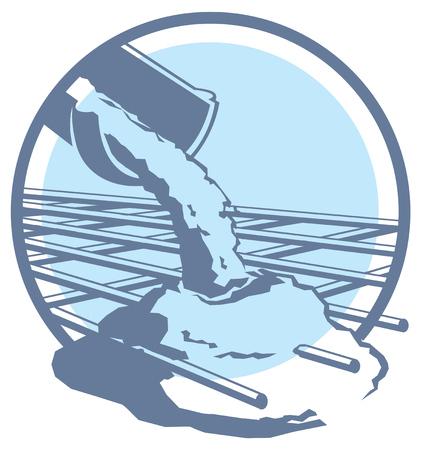 pouring: Vector pouring concrete icon