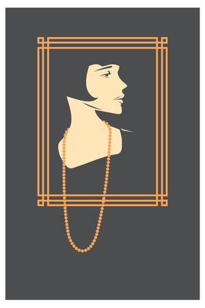 twenties: Vector vintage girl. retro portrait Illustration