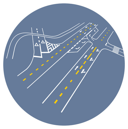 junction: Vector road markings. road junction Illustration