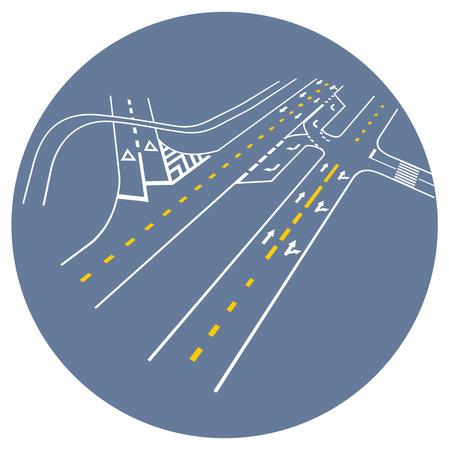 map toolkit: Vector road markings. road junction Illustration
