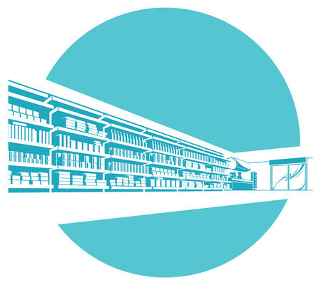 Vector shelves in store. supermarket.  イラスト・ベクター素材
