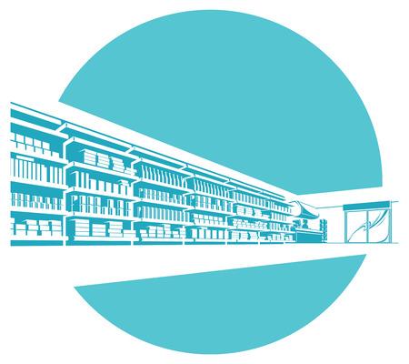 mall interior: Vector shelves in store. supermarket. Illustration