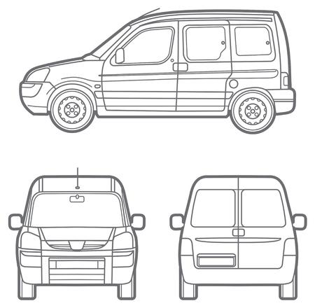 minivan: Vector outline minivan