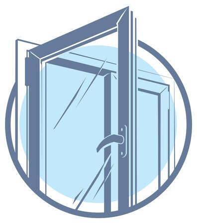 ventanas abiertas: Vector icono de la ventana de plástico