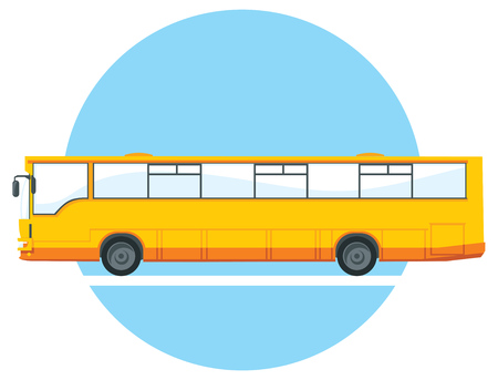 city view: yellow city bus illustration. side view