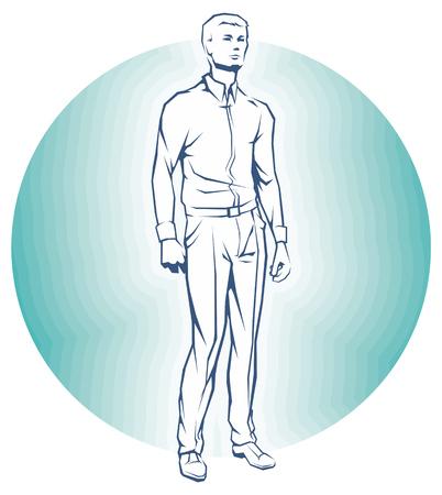 Single Business Man. Man is Standing. Illustration