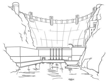 generating: Outline illustration of a hydroelectric dam generating power and electricity with falling water Illustration