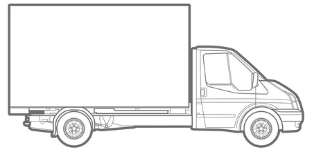 Vector outline illustration of a commercial truck